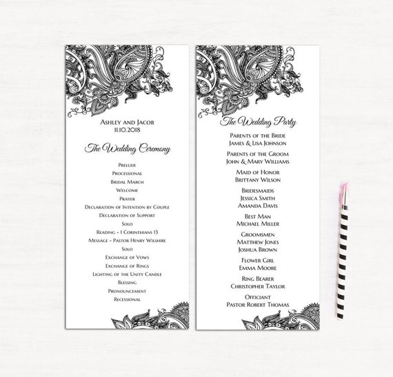 Lace Wedding Program Template Classic Ceremony Card Etsy