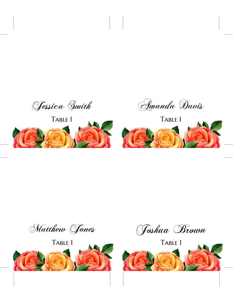 Boho wedding place cards Roses wedding name card diy Romantic wedding table cards Cottage chic wedding decoration Boho chic wedding 1W40