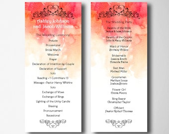 Red wedding program template Fall wedding ceremony program printable Autumn wedding Order of ceremony Digital wedding program fairy tale W22