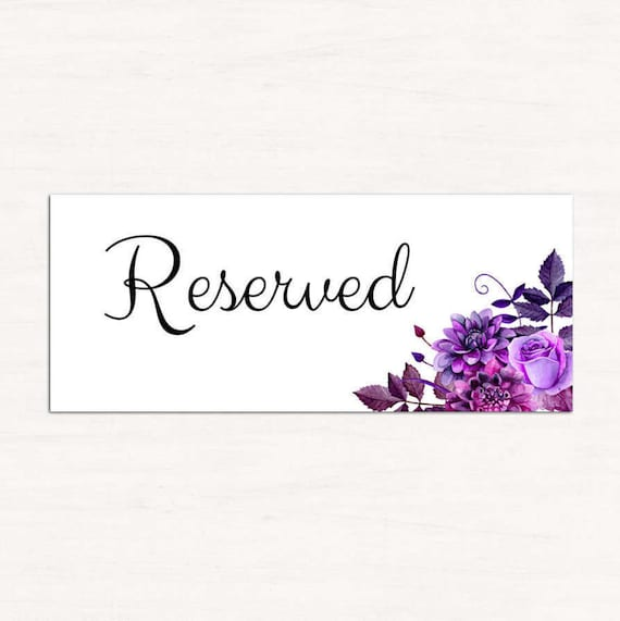 wedding reserved sign template purple wedding reserved seating etsy