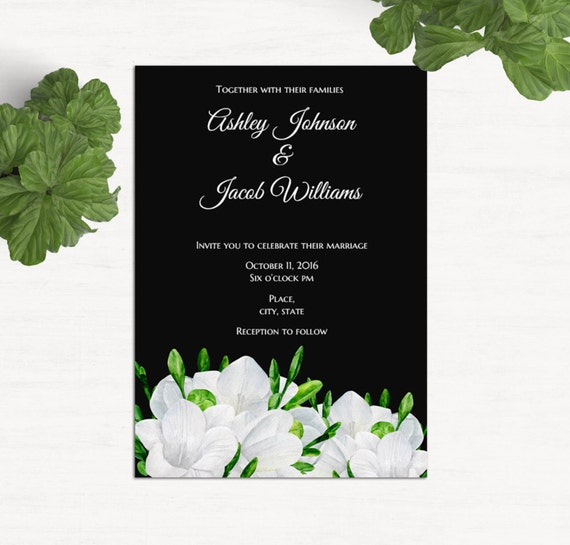 Black Wedding Invitation Printable Modern Invites Template Elegant Wedding Invitation Card Download Wedding Freesia Romantic Invites 1w109