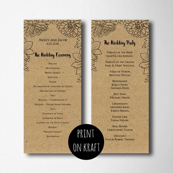 rustic wedding program template rustic program printable etsy