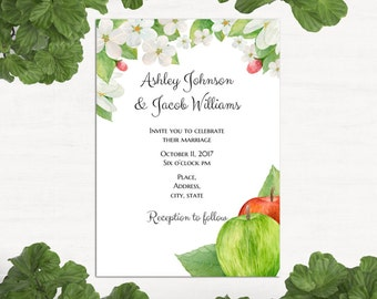 Nature wedding invitations clouds trees grassy theme garden wedding invitation template apple wedding invitation printable nature wedding invitation diy green wedding invitation card 1w54 stopboris Image collections