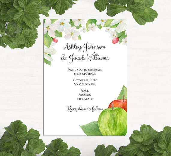Garden Wedding Invitation Template Apple Wedding Invitation Etsy