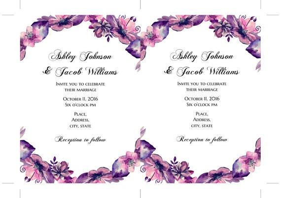 Diy Wedding Invitation Purple Lavender Wedding Invitation Card Printable Fall Wedding Invitation Template Boho Wedding Invites Download 1w63