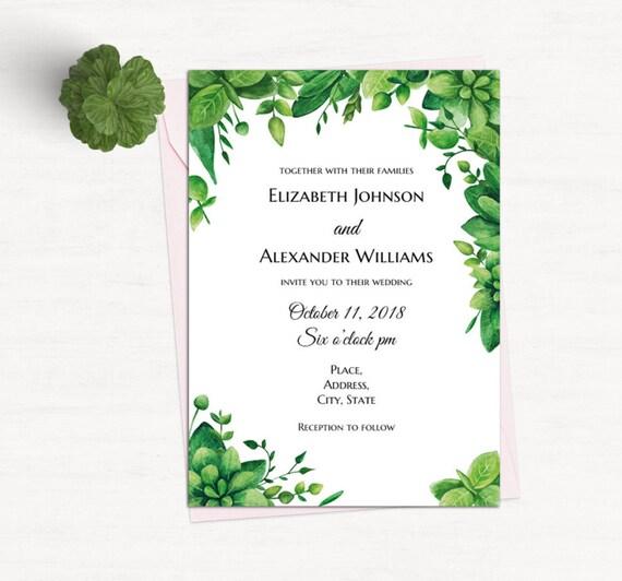 green invitation template greenery wedding garden invites etsy