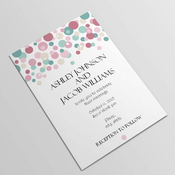 Blush and turquoise Wedding invitations template Colorful | Etsy