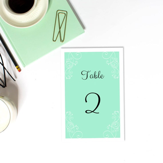 Printable Wedding Table Numbers Mint Wedding Table Decorations Romantic Wedding Numbers Cards Classic Wedding Table Card Elegant Wedding T29