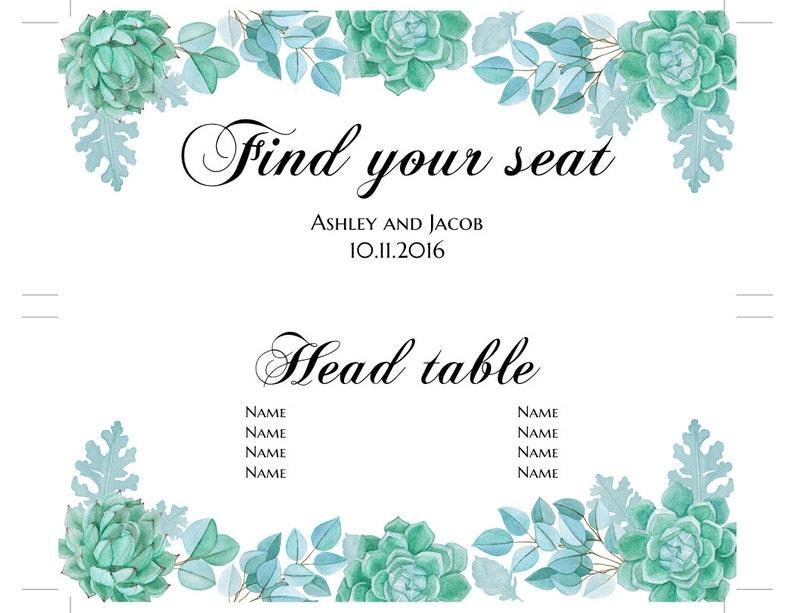 Succulent wedding seating chart template Mint wedding Floral seating plan printable Botanic wedding table plan diy Instant download 1W128
