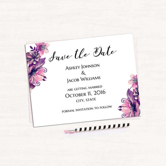 save the date printable purple wedding save the date template etsy
