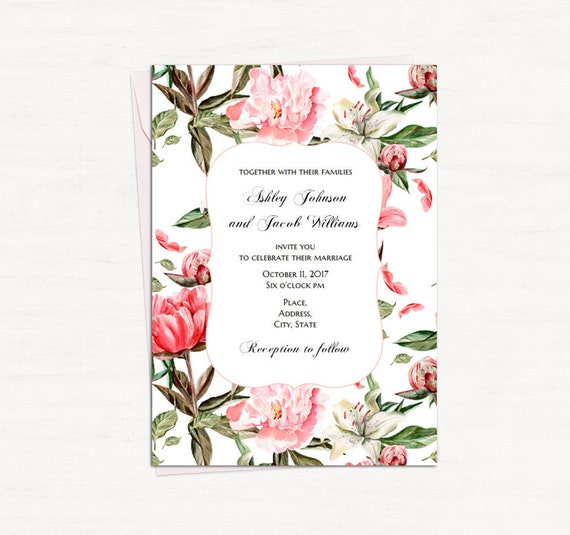 Boho Wedding Invitation Template Cottage Chic Wedding Vintage Invitation Card Printable Floral Invites Diy Botanic Wedding Retro 1w137