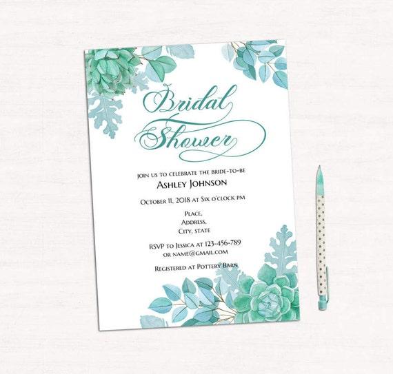 Succulent Bridal Shower Invitation Template Mint Wedding Etsy