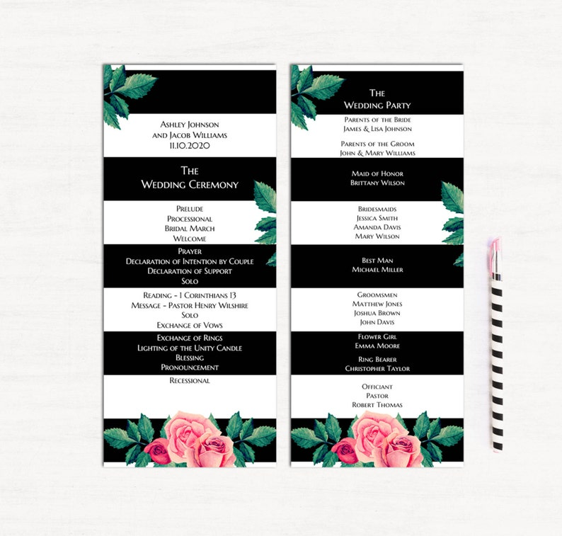 987e555804e0 Matrimonio a strisce programmi cerimonia di nozze delle Rose