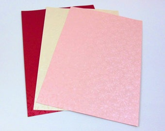 "Paper textured ""flowers"" for scrapbooking - shades of pink, white red and off"