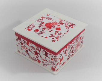 BOX Organizer white, red prints