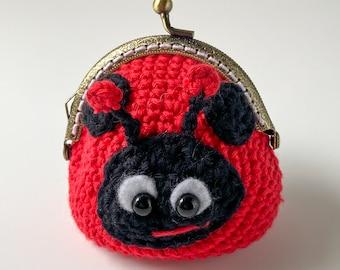 Bag charm Ladybug Keychain Ladybug Small Purse Ladybug Ladybug Coin Purse Wee purse Metal frame purse Valentine/'s day gift