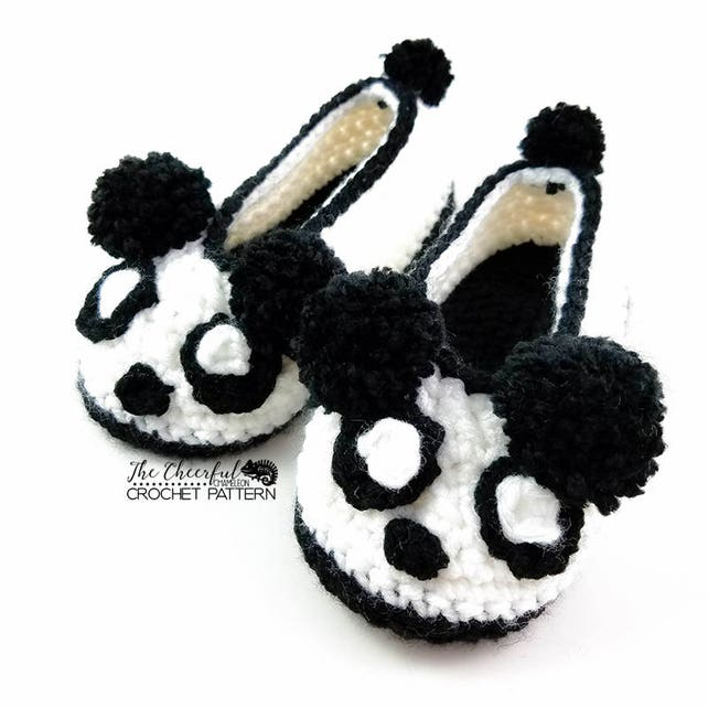 Panda Crochet Pattern Child Slipper Pattern Panda Bear Etsy