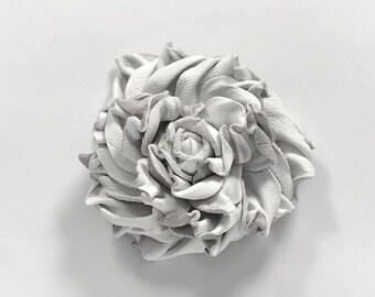 Leather Flower Brooch, White Brooch, White Flower Brooch, Leather Brooch, Leather Flower, womens brooch, Gift for Women, brooch, mom gift