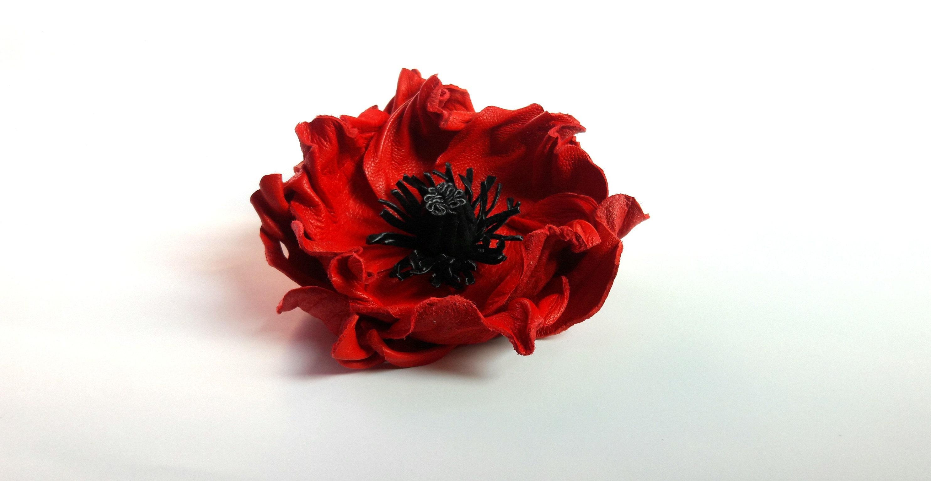 Leather Flowers Red Flower Flower Pin Poppy Pin Flower Etsy