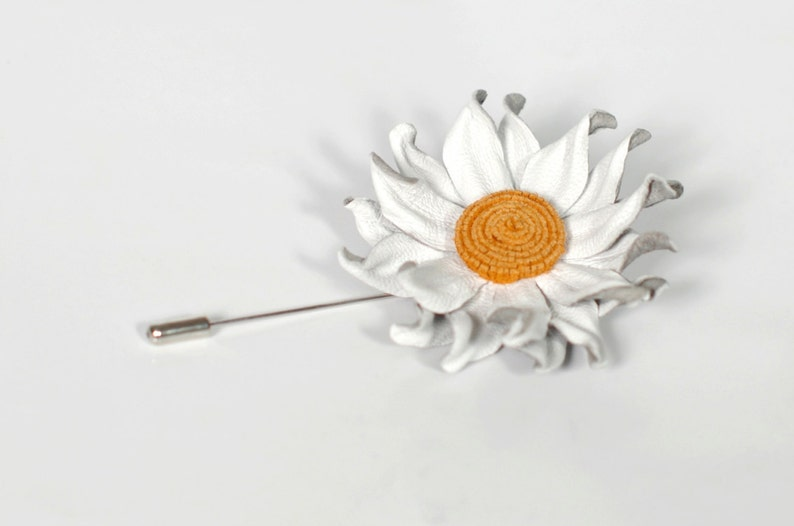 4c8b9a7992ad6 White Leather Flower Mens Pin, Lapel Flower Brooch, Men Stick Pin, Leather  Boutonniere, white lapel flower, Flowers Jewelry, Mens Gift Wife