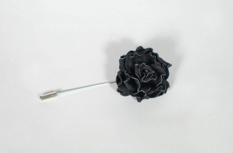 9bc72424b38b5 Black Flower Men's Lapel Pin - Leather Flower - Rose Pin - Flower Lapel Pin  - Black Stick Pin - Office wear - Leather Boutonniere
