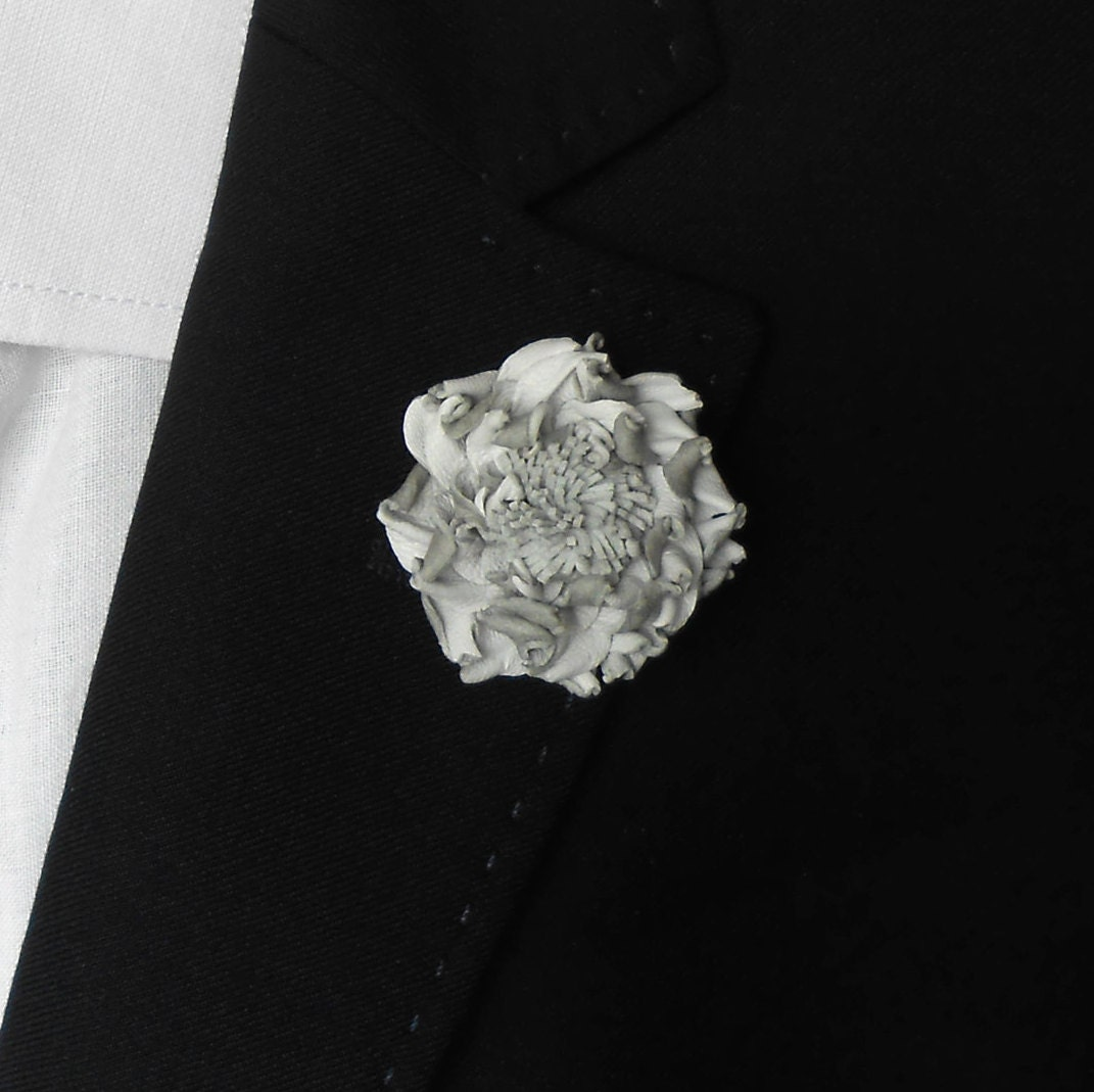 Flower Lapel Pin White Flower Brooch Leather Lapel Pin Mens Etsy