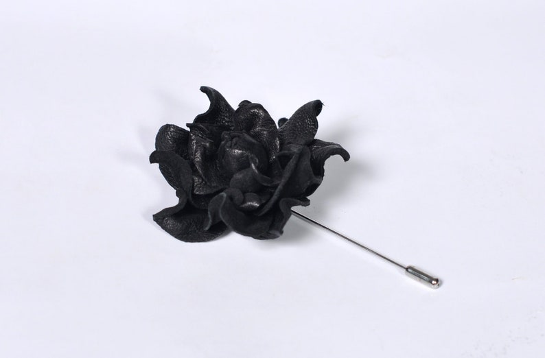 eaa694e8085c9 Black Leather Flower Mens Lapel Pin, Leather Rose Brooch, Floral Jewelry,  Black Wedding, Leather Boutonniere for Man, Leather Brooch