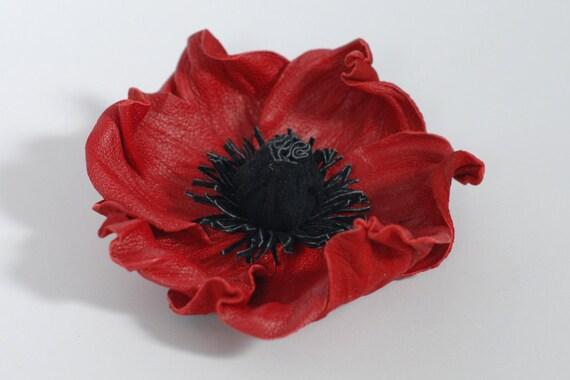 Red Poppy Brooch Leather Flower Poppy Pin Memorial Day Gift Etsy