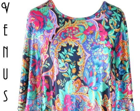 "Plus Size XXL Vintage 1970s Kaftan Maxi Dress Psychedelic Floral Silky Jade Purple Gold Hippy UK 22 24 26 US 18 20 22 Bust to 54"" 137cm"
