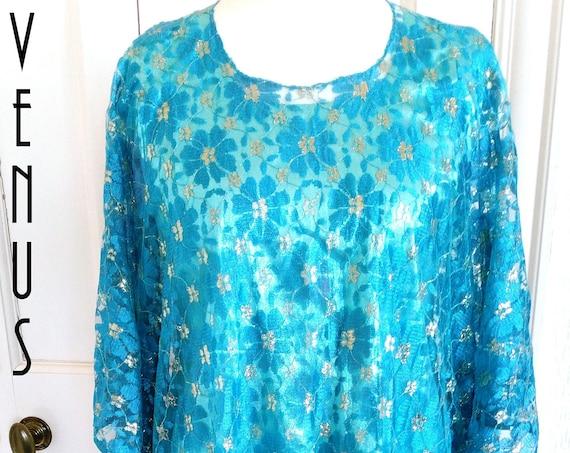"Plus Size UK 18 Vintage 1970s Blue Gold Lace Maxi Dress Diva Angel Sleeves Boho EU 46 US 14 Bust 44""/ 112cm"