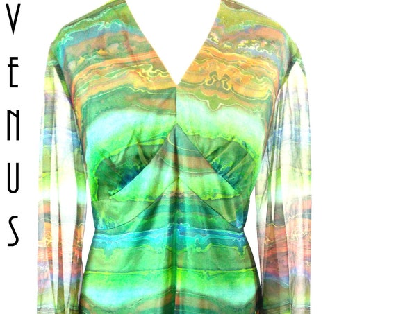 "Plus Size UK 16 Vintage 1970s Maxi Dress Chiffon  Psychedelic Sheer Sleeves Boho  Tall EU 44 US 12 Bust 42"" 107cm"