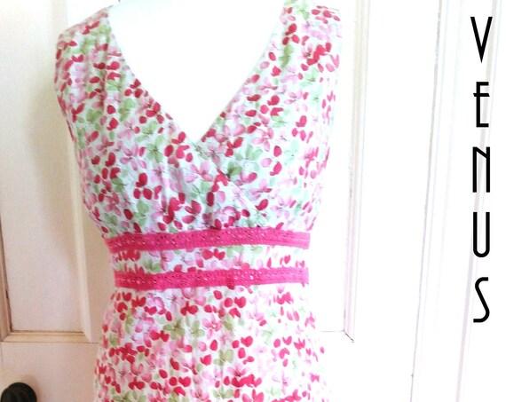 """Plus Size UK 18 Vintage 1980s Maxi Sun Dress Pink Ditsy Cotton Lace Boho  EU 44 US 14 Bust 44"""" 112cm"""