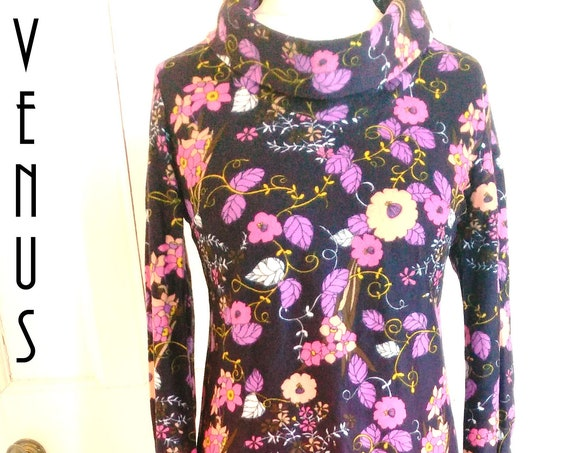 "Plus Size UK 16 Vintage 1970s Maxi  Dress Velvet Psychedelic Floral Boho Josselyne EU 44 US 12 Bust 42"" 107cm"