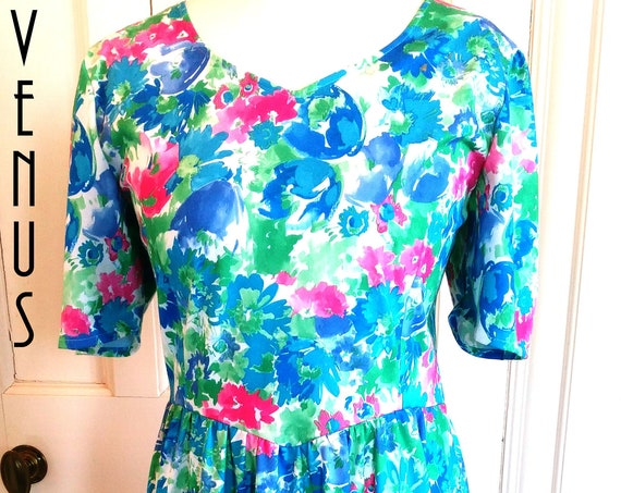 "Plus Size UK 18 '80s Vintage 1950s-Style Floral Tea Dress Rockabilly Circle Skirt  EU 44 US 14 Bust 44"" 112cm"