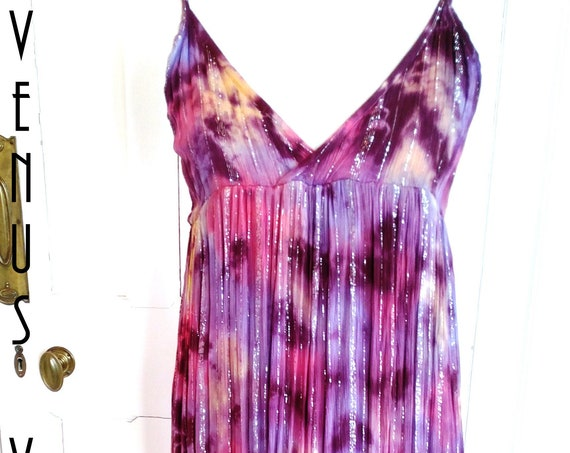 "UK 12 14 Vintage 1980s Maxi Sun Dress Purple Pink Metallic Silver Ombre Boho Hippie EU 42 US 10 Bust up to 40"" 102cm"