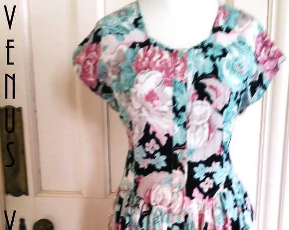 "Plus Size UK 16 Vintage 1950s-style Tea Dress Floral Roses Pink Green Rockabilly Mad Men EU 44 US 12 Bust 42"" 107cm"