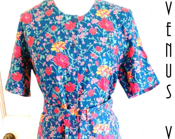"UK 14 Vintage 1980s Floral Tea Dress Shirtwaist Arts & Crafts William Morris EU 42 US 10 Bust 40"" 102cm"