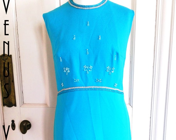 "Plus Size UK 16 Vintage 1970s Maxi Dress Sky Blue Column Sheath Crystal Beads Boho EU 44 US 12 Bust 42"" 107cm"