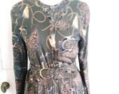 UK 14 1980s Vintage 1950s-Style Tea Dress Baroque Paisley Full Skirt Rockabilly EU 42 US 10 Bust 40 quot 102cm