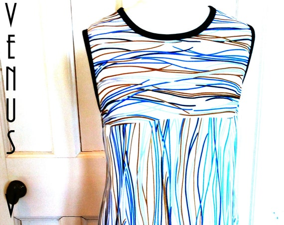 "Plus Size UK 18 Vintage 1970s Shift Dress Geometric Op Art  Mod Wavy Lines EU 46 US 14 Bust 44"" 112cm"