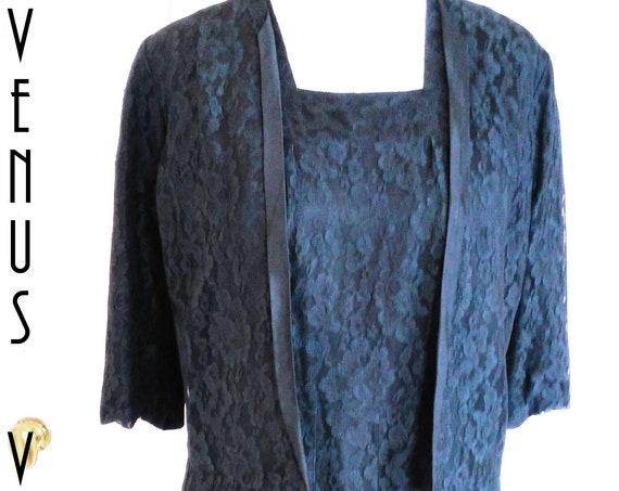 """Plus Size UK 16 Vintage 1960s Chantilly Lace Dress Suit Jacket Black Hodgsons EU 44 US 12 Bust 42"""" 107cm"""