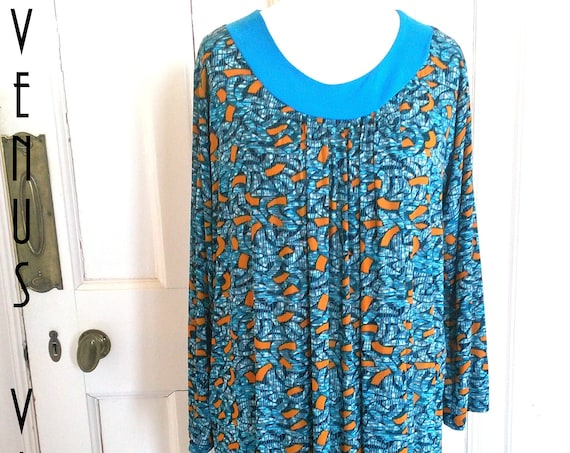 "Plus Size XXL Vintage 1970s Kaftan Maxi Dress Abstract Geometric Blue Orange Ditsy Boho Hippy UK 22 24 26 US 18 20 22 Bust to 52""  133cm"