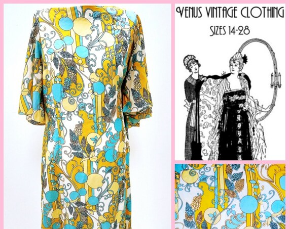 "Volup UK 20 Vintage 1970s Maxi Dress Psychedelic Boho Chiffon Angel Wing Bust 46"" 117cm EU 48 US 16"