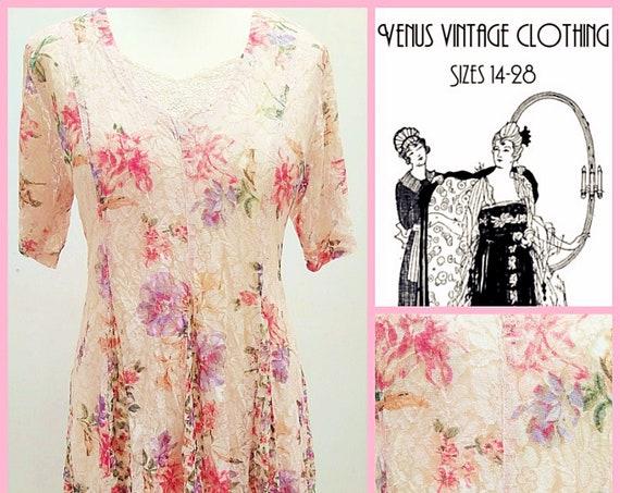 """Volup UK 18 Vintage 1980s Cottagecore Cream floral Lace Midi Maxi Dress Romantic Boho  EU 46 US 14 Bust 44"""" 112cm"""
