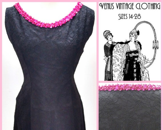 """Volup UK 16 Vintage 1960s Lace Cocktail Dress Sequins Audrey Mod  EU 44 US 12 Bust 42"""" 107cm"""