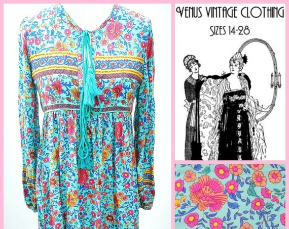 """Size UK 14 Vintage 1970s-style Smock Dress Ethnic Hippie Floral  Boho Blue Pink EU 42 US 10 Bust 40""""  102cm"""