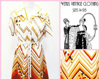 "Volup UK 16 Vintage 1970s Shirtwaist Dress Op-Art Chevron Geometric Curvy EU 44 US 12 Bust 42"" 107cm"