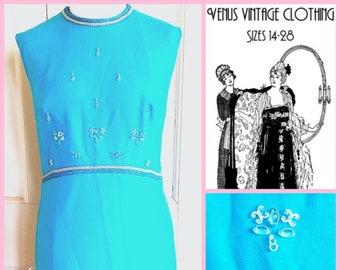 "Volup UK 16 Vintage 1970s Maxi Dress Sky Blue Column Sheath Crystal Beads Boho EU 44 US 12 Bust 42"" 107cm"