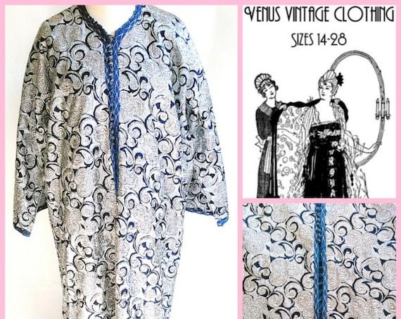 "Volup Vintage Kaftan Silver Brocade XL 1960s Morroccan Boho Hippy Beatles UK 22 24 26 US 18 20 22 Bust to 54"" 137cm"