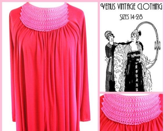 """Volup UK 18 20 22 1970s Vintage Scarlet Cocktail Dress Boho Studio 54  EU 48 US 16 Bust 46""""-50"""""""